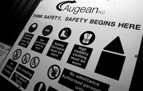 Augean health and safety sign
