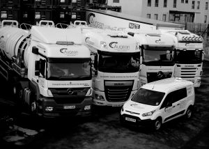 Augean North Sea Service line of lorries and vans